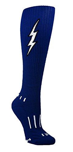 (MOXY Socks Women's Navy Blue with Black Knee-High Insane Bolt Soccer Socks)