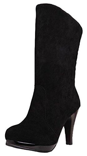 Summerwhisper Women's Elegant Faux Suede Round Toe Pointy High Heel Platform Fleece Lined Slip on Short Boots Black 7 B(M) US