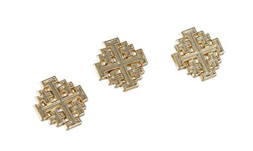 [Gold Jerusalem Cross Lapel Pins (3 Pins) Gold Plated Christian] (Butterfly Gold Cross)