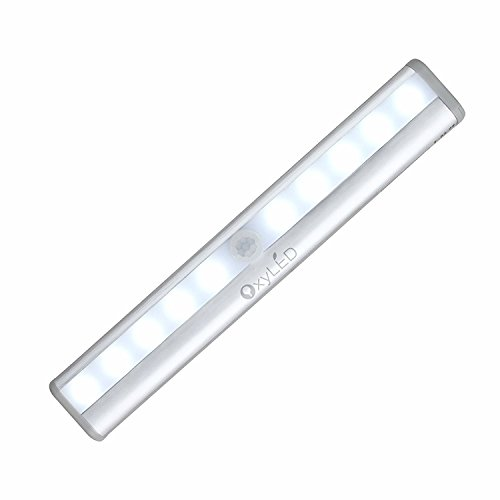 OxyLED OxySense T-02 DIY Stick-on Anywhere Portable 10-LED Wireless Motion Sensing Closet Cabinet LED Night Light / Stairs Light / Step Light Bar with Magnetic Strip (Battery Operated) – Silver