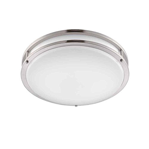 Designers Fountain EV1414LED-BN Low Profile LED Flush Mount Ceiling Lighting Fixture, 14'', Brushed Nickel/White by Designers Fountain