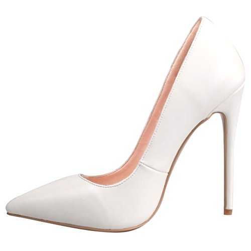 Women US ZAPROMA Size for 4 White Stilettos High Pointed Pumps Luxury Heel 15 Toe Shoes PU nP6qvRnf