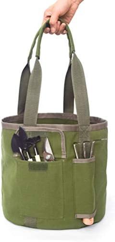 Keemov バケットポケット ツールバケット 工具収納用 丸型 2ポケット付 作業用 工具バッグ ガーデンツール 園芸用具バッグ アウトドア