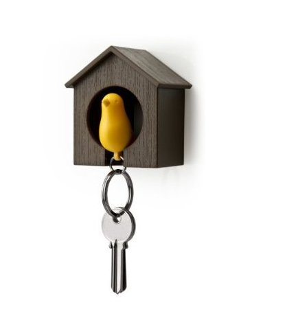 Birdhouse Key Ring - Brown House with Yellow Bird -