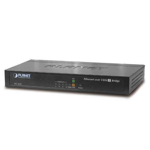 Planet Technology USA VC-234 4-Port 10/100TX Ethernet Over 100/100 mbps VDSL2 Bridge - 30a Profile