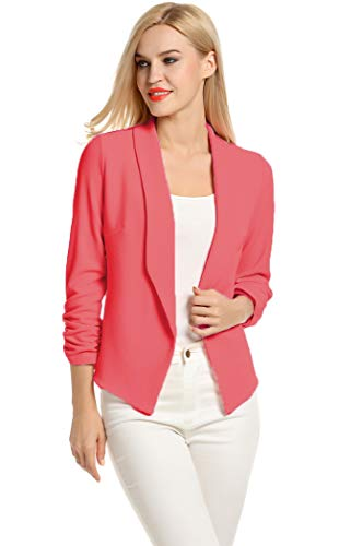 Turn Down Collar Wear to Work Outwear Jacket Blazer (M, Red) ()