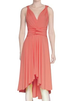 E K Women's Twist wrap Dress Convertible high-Low Knee Length Infinity Gown-Coral-l-XL 112 Coral