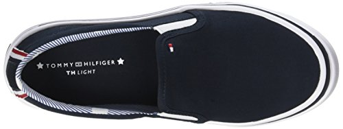 Weight Slip Bleu Basses Femme Hilfiger Midnight Textile Blanc Tommy on Light Sneakers Bleu 403 IxT4qw