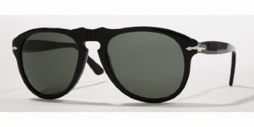 Persol Mens 0PO0649 95/58  Square Sunglasses,Black Frame/Green - 0649 Sunglasses Persol