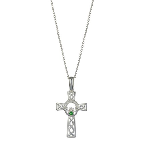 Celtic Cross Pendant Silver incorporating Claddagh Necklace Design,18