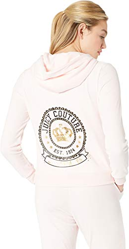 Juicy Couture Womens Glitter - Juicy Couture Women's Glitter with Rhinstones Logo Hoodie Primrose Pink X-Large