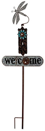Bird House Dragonfly (Sunset Vista Designs Dragonfly Garden Stake With Welcome Sign, 39.75