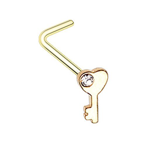 - Inspiration Dezigns Nose Stud Ring Key to my Heart L-Bend or Bone 20G Surgical Steel (L-Bend Style, Gold)
