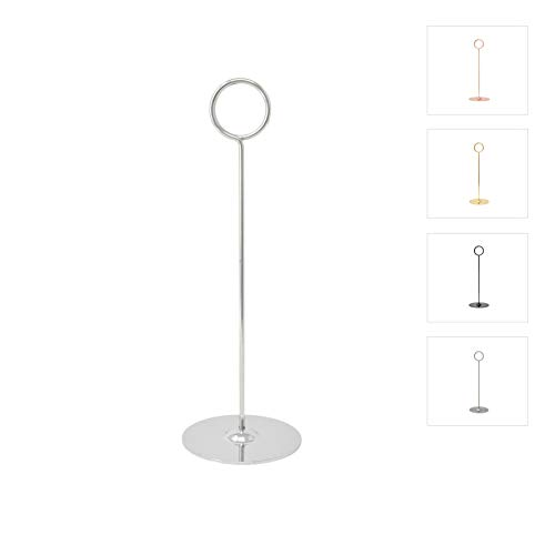 (GrayBunny GB-6910CHR Place Card Holder 8 in Tall 12 pack Chrome \ Silver Table Cardholder Tabletop Menu Holder Harp-Clip Number Holder Recipe Holder Reserved Card Holder For Restaurant Wedding Banquet)
