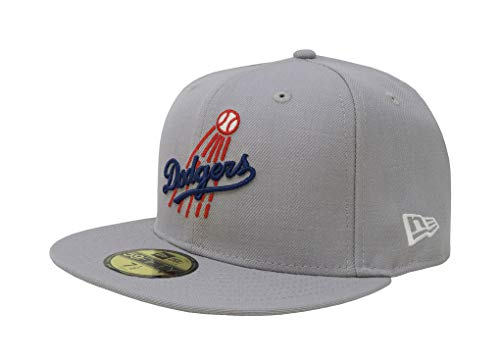 New Era 59Fifty Hat Los Angeles Dodgers LA Cooperstown 1958 Wool Fitted Cap (7 7/8) Gray ()