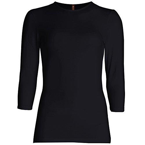 Esteez Womens 3/4 Sleeve Shirt SNUG FIT EX801941 Black LARGE