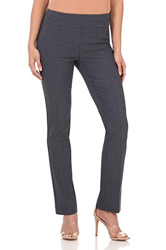 Rekucci Women's Ease Into Comfort Straight Leg Pant with Tummy Control (18,Indigo Tartan) ()