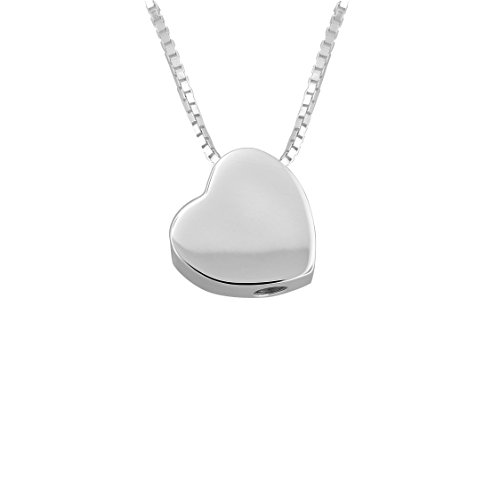 Sterling Silver Heart Urn Pendant with 18 Inch Silver Box Chain (sterling-silver) by Forever Urn Jewelry