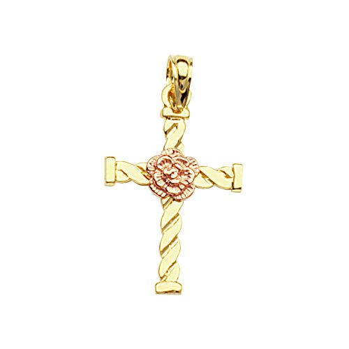 (10k Rose and Yellow Two-tone Gold Cross Pendant with Pink Flower Center)