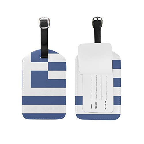 Ainans Greek Flag Luggage Tags Travel ID Bag Tag for Suitcase 1 Piece ()