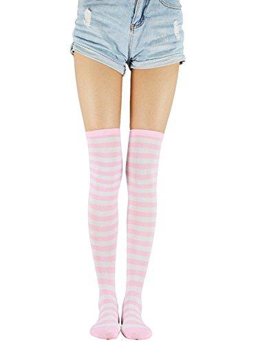 Pink Miss Zebra - Century Star Womens Lovely Striped Thigh High Socks Over the Knee High Leggings Girls Warm Crochet Long Socks Pink White Thin Stripe