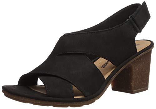 Sandals Nubuck Clarks (CLARKS Women's Sashlin Nolte Heeled Sandal, Black Nubuck, 8.5 Medium US)