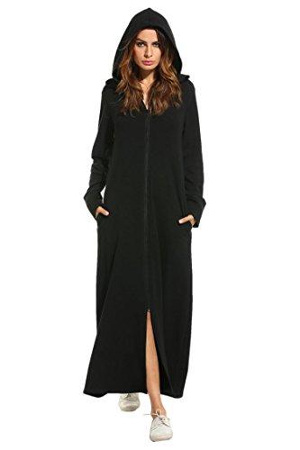 - Zeagoo Women's Long Sleeve Zipper up Ultra-Soft Cotton Hoodie Sweatshirt Dress with Pockets