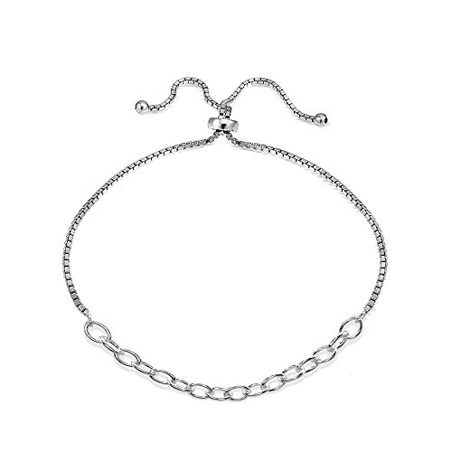 (Sterling Silver Polished Pull-String Loop Adjustable Charm Link Chain Bolo Bracelet)