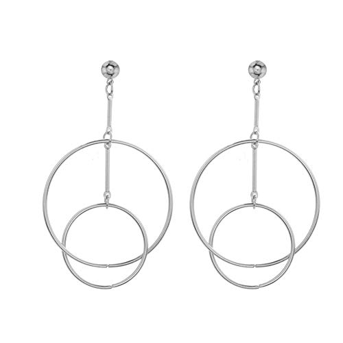 Big Double Hoop Dangle Earrings Geometric Hollow Round Circle Bar Drop Earrings for Women Fashion Jewelry (silver)