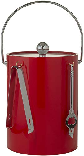 Hand Made In USA Red Double Walled 5-Quart Insulated Ice Bucket With Ice Tongs & Bottle Opener ()