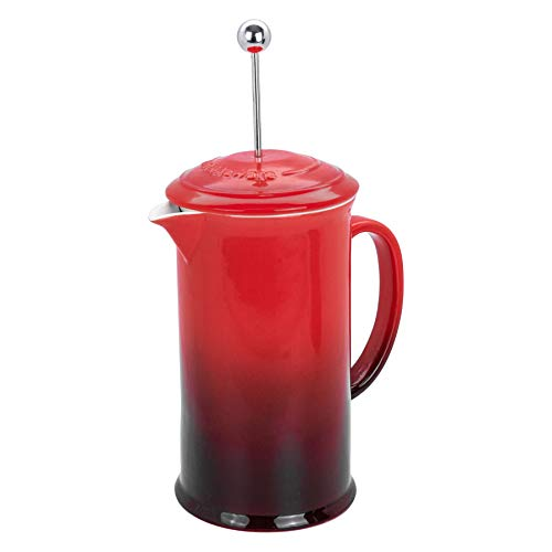 Argon Tableware Coffee Cafetiere Glazed Ceramic 'Sibel' - 1 Litre / 4 Cup Coffee Press - Red