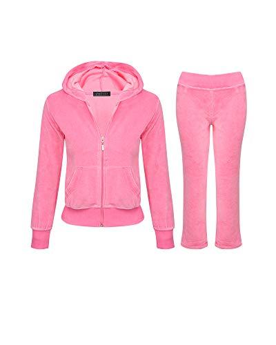 Shelikes Girls Kids Velour Velvet Zip Hoodie Pants Tracksuit Sport Sweat Suit Set (Baby Pink, Age 13/14)