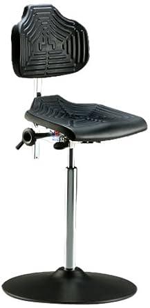 "Milagon Brio 12 Series WSP1211TPU Polyurethane Foam Seat on Enamel Disc Base Chair with Edging, High Profile, 24""-34"" Adjustment Height"