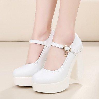 RTRY La Mujer Tacones Zapatos Formales Cuero Auténtico Primavera Otoño Boda Oficina &Amp; Carrera Parte &Amp; Noche Zapatos Formales Chunky Talón3In-3 En Blanco Y Negro US10.5 / EU42 / UK8.5 / CN43