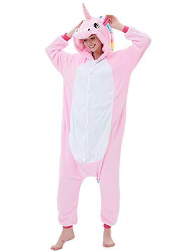 ABENCA Fleece Onesie Pajamas for Women Adult Cartoon Animal Unicorn Christmas Halloween Cosplay Onepiece Costume, Unicorn Pink Old, S -