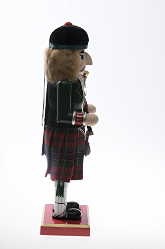 "Clever Creations Scottish Wooden Collectible Nutcracker Wearing Scottish Kilt, Green Coat, and Plaid Hat with Bagpipes | Festive Decor | Perfect for Shelves and Tables | 100% Wood | 14"" Tall by Clever Creations (Image #1)"
