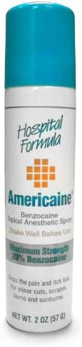 Americaine Hospital Formula Maximum Strength Benzocaine Topical Anesthetic Spray | for Minor Cuts, Scraps, Burns & Sunburn | 2 Ounce Can