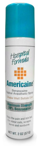 (Americaine Hospital Formula Maximum Strength Benzocaine Topical Anesthetic Spray | for Minor Cuts, Scraps, Burns & Sunburn | 2 Ounce Can)