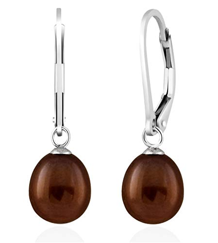 Handpicked AA 7.5-8mm Freshwater Cultured Pearls Dangle Drop 925 Silver Lever-back Earrings (Brown)