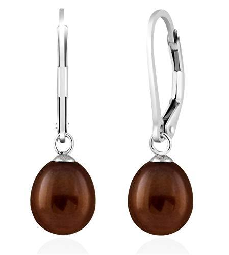 Handpicked AA 7.5-8mm Freshwater Cultured Pearls Dangle Drop 925 Silver Lever-back Earrings (Brown) - Lavender Teardrop Pearl