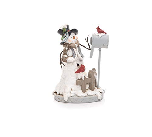 (Transpac Imports D0636 Resin Wire Arm Christmas Snowman with Mail Figurines, White )