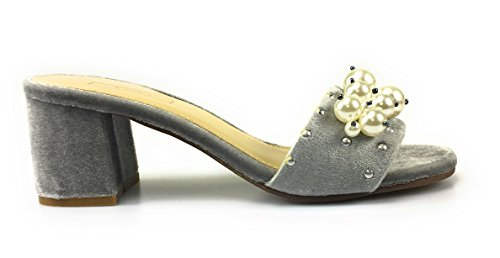 Yoki Delano-18 Womens Pearl Slide Slip On Block Heel Mule Sandal Grey njW603v