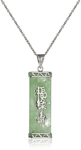 "Rhodium-Plated Sterling Silver  Jade ""Good Fortune, Prosperity, and Longevity"" Pendant Necklace"