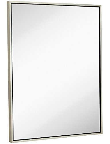 Clean Large Modern Antiqued Silver Frame Wall Mirror | Contemporary Premium Silver Backed Floating Glass Panel | Vanity, Bedroom, or Bathroom | Mirrored Rectangle Hangs Horizontal or Vertical