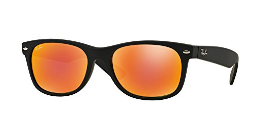 Ray Ban RB2132 NEW WAYFARER 622/69 55M Rubber Black/Brown Mirror Red Sunglasses For Men For ()