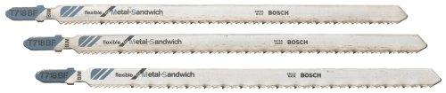 Bosch T718BF3 3-Piece 7 In. 14 TPI Flexible for Sandwich T-Shank Jig Saw Blades - Hss Shank Jigsaw Blade