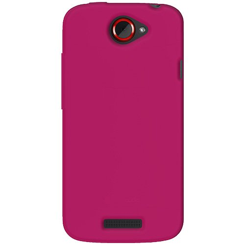Amzer AMZ93768 Silicone Jelly Skin Fit Phone Case Cover for HTC One S and T-Mobile HTC One S - 1 Pack - Retail Packaging - Hot Pink