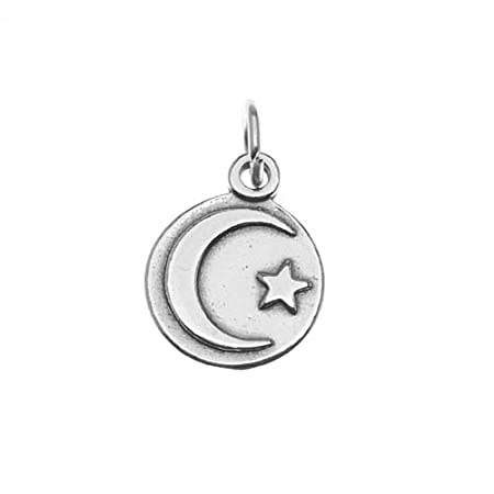 Sterling Silver Charm Circle With Star And Crescent Moon Symbol Of