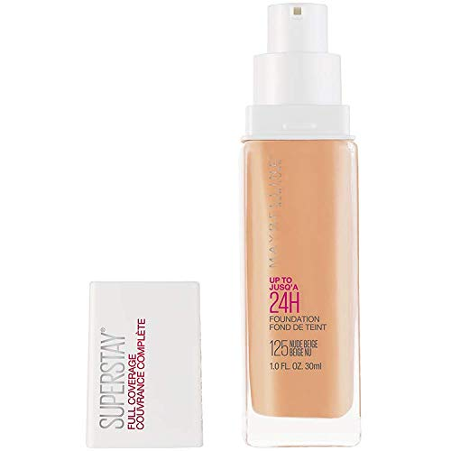 Maybelline New York Super Stay Full Coverage Liquid Foundation Makeup, Nude Beige, 1 Fluid Ounce