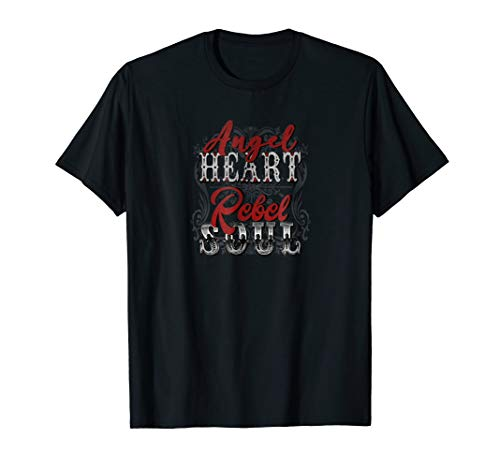 (Mens Angel Heart Rebel Soul Distressed T-Shirt (Unisex))